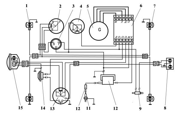 """Схема электрооборудования мопеда  """"Карпаты """".  1 - указатель поворота передний; 2 - переключатель указателей поворота..."""