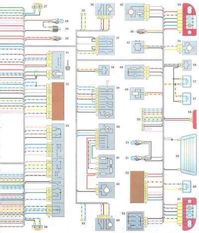 Схема электрооборудования Калина ВАЗ 1118.