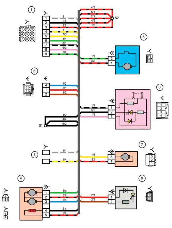 1- колодка жгута проводов