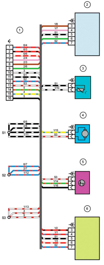 Схема электрических соединений жгута проводов отопителя Лада Приора Ваз 21723.