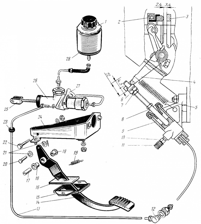 нива схема главного цилиндра сцепления